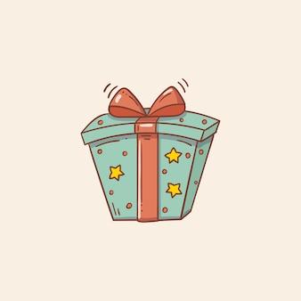Caixa de presente azul com estrelas e laço e fita vermelhos no estilo doodle Vetor Premium