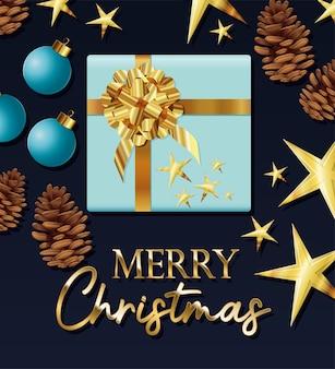 Caixa de presente azul com ilustração de letras de feliz natal