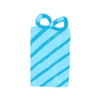 Caixa de presente azul do vetor isolada no branco. clip-art de presente. ilustração do presente de inverno. projeto de férias.