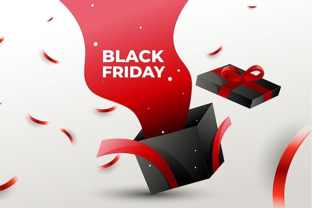 Caixa de presente black friday com design minimalista elegante