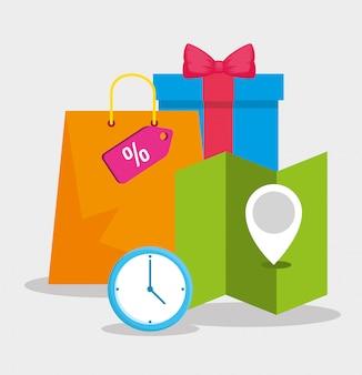 Caixa de presente, bolsa, relógio e mapa