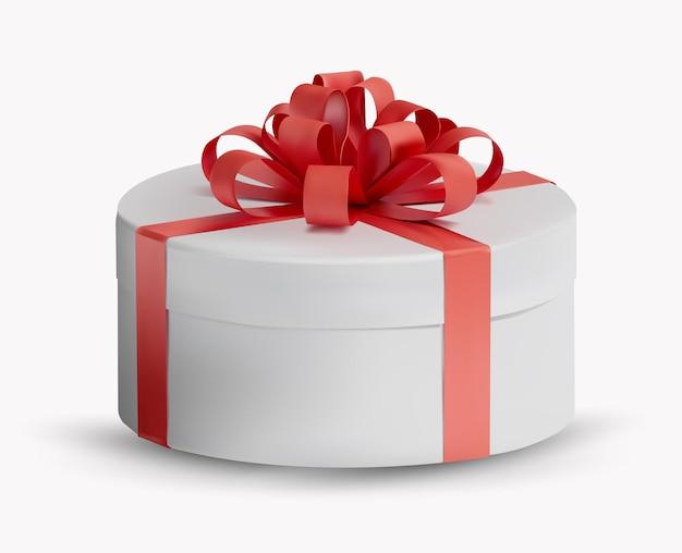 Caixa de presente branca com fita vermelha e laço na parte superior