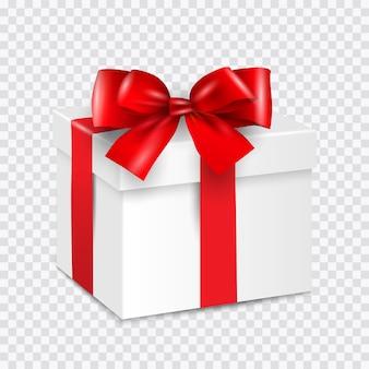 Caixa de presente branca com fita vermelha isolada em transparente