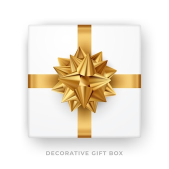 Caixa de presente branca com laço dourado e fita isolada. vista do topo. ilustração