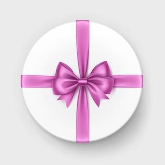 Caixa de presente branca com laço rosa e fita