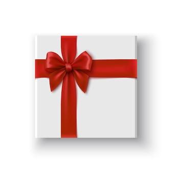 Caixa de presente branca com laço vermelho pacote com ilustração de fita