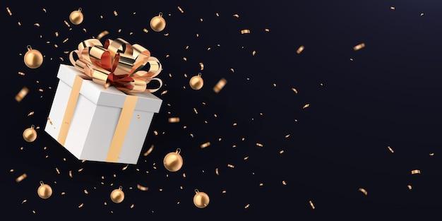 Caixa de presente branca voadora fechada com laço de fita dourada, bolas de natal
