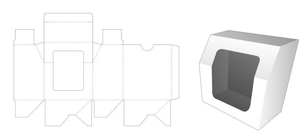 Caixa de presente chanfrada com molde de janela cortada