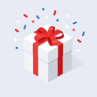 Caixa de presente com arco, fita em fundo branco. pacote vermelho isométrico, surpresa com confete. venda, compras. férias, natal, conceito de aniversário.