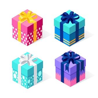 Caixa de presente com arco, fita em fundo branco. pacote vermelho isométrico, surpresa. venda, compras. férias, natal, conceito de aniversário.