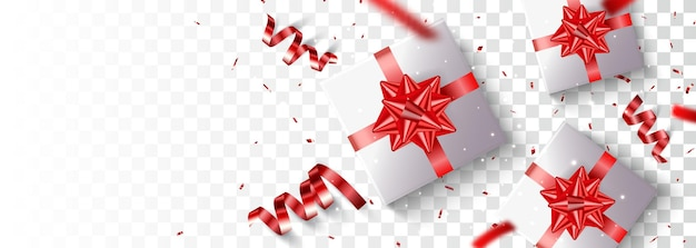 Caixa de presente com confete dourado e vermelho isolado