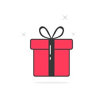 Caixa de presente com contorno rosa e preto. conceito de pacote de presente, bônus, caridade, pacote, liquidação. ícone de presente isolado no fundo branco. ilustração em vetor design de logotipo de presente moderno tendência estilo plano