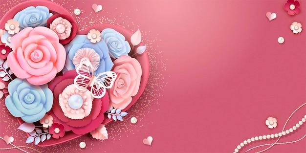 Caixa de presente com coração preenchida com flores de papel e borboletas em estilo 3d