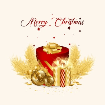 Caixa de presente com decorações de natal, árvore e velas