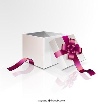 Caixa de presente com fita cor de rosa