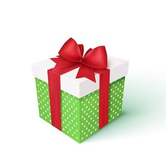 Caixa de presente com fita vermelha e arco. decoração de natal de vetor