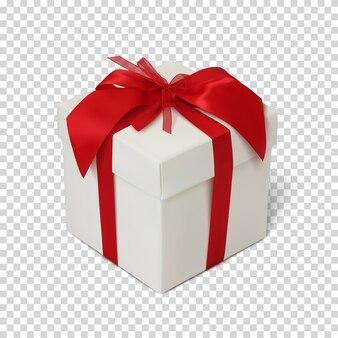 Caixa de presente com fita vermelha e arco.