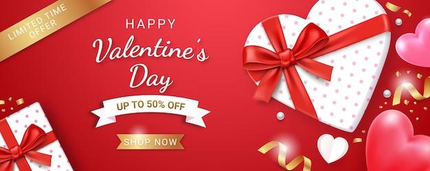 Caixa de presente com fita vermelha e coração 3d. fundo do cartão de dia dos namorados.