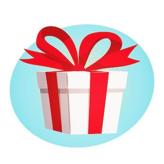 Caixa de presente com fita vermelha e laço