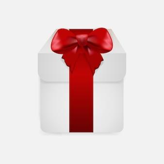 Caixa de presente com fita vermelha isolada em fundo transparente.