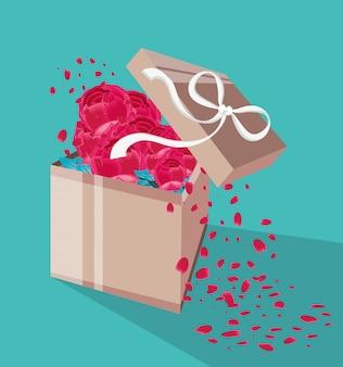 Caixa de presente com flores e pétalas