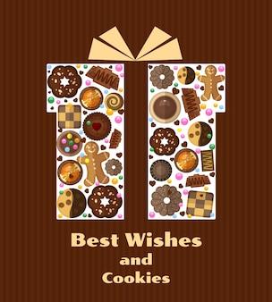 Caixa de presente com ilustração de biscoitos