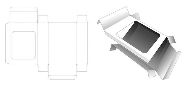 Caixa de presente com janela cortada modelo