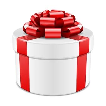 Caixa de presente com laço vermelho e fita isolado na ilustração branca