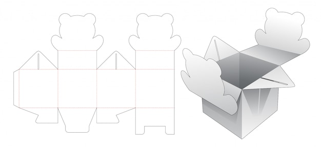 Caixa de presente com ponto de abertura em forma de urso modelo de corte