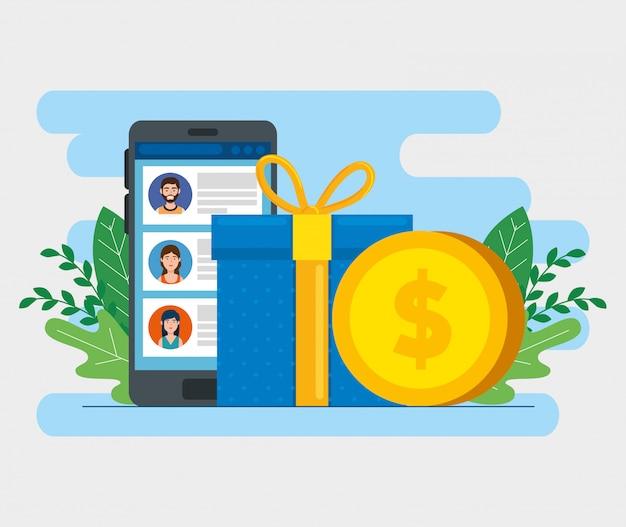 Caixa de presente com smartphone e moeda ícone isolado