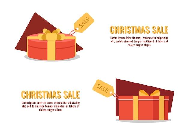Caixa de presente com tag de venda, banner com caixa de presente de natal / aniversário