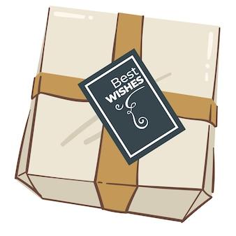 Caixa de presente com um lindo cartão de felicitações e fita decorativa. presente isolado para feriados ou ocasiões especiais. aniversário ou natal, ano novo ou dia dos namorados, pacote simples. vetor em estilo simples