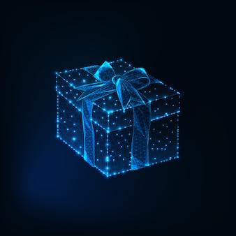 Caixa de presente de baixo polig brilhante com laço de fita
