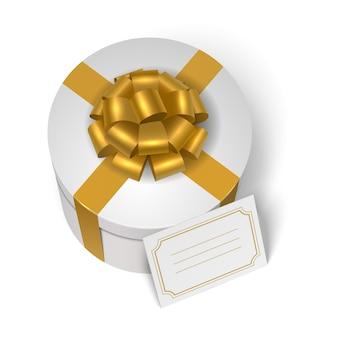 Caixa de presente de casamento com fita amarela e arco