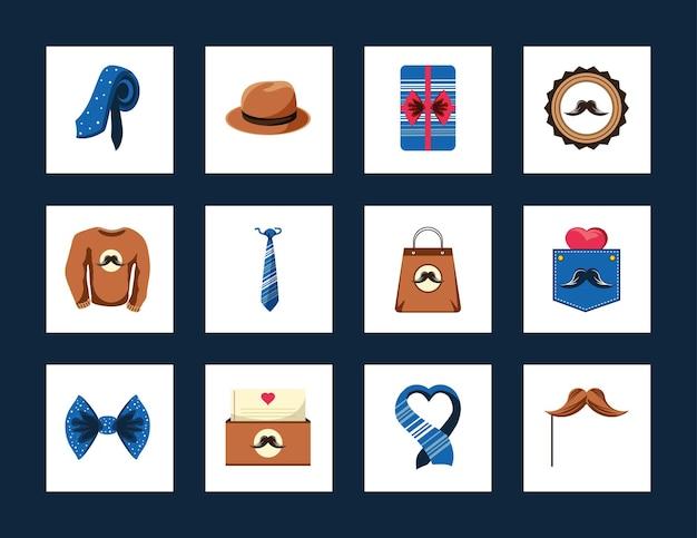 Caixa de presente de chapéu de gravata para dia dos pais