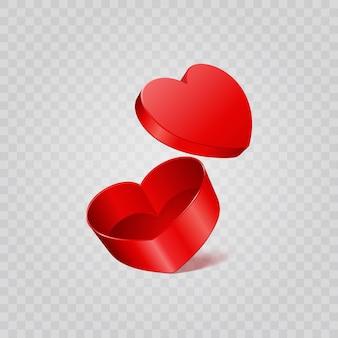 Caixa de presente de coração vermelho isolada em fundo transparente. cenário de substituição fácil.