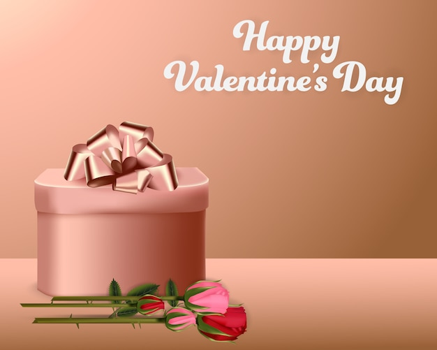 Caixa de presente de dia dos namorados e banner de origens de rosas