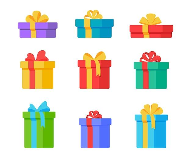 Caixa de presente de natal. caixas de presente decoradas com laços de fita para dar um momento especial.