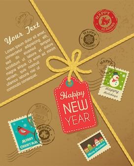 Caixa de presente de natal com selos coloridos e etiqueta de ano novo. fundo para cartão de felicitações, banner ou cartaz