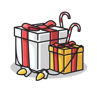 Caixa de presente de natal e ano novo de inverno em uma ilustração de arte de linha fofa