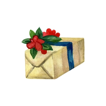 Caixa de presente de natal embrulhada com papel e decorada com fita ilustração em aquarela