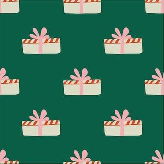 Caixa de presente de natal padrão de fundo social media post ilustração em vetor decoração de natal