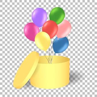 Caixa de presente de ouro aberto com balões