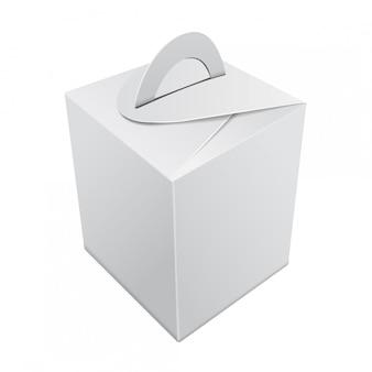 Caixa de presente de papel kraft em branco. recipiente branco com alça. modelo de caixa de presente, pacote de papelão