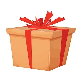 Caixa de presente de papelão surpresa com prêmio de fita ou recompensa em estilo cartoon