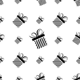 Caixa de presente de silhueta preta de padrão sem emenda. padrão atual. ilustração em vetor plana.