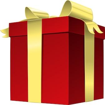 Caixa de presente de vetor vermelha com laço de fita dourada, isolada no branco