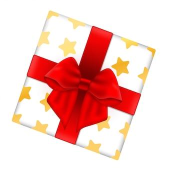 Caixa de presente decorativa com laço vermelho.