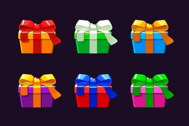 Caixa de presente diferente dos desenhos animados, caixa de presente de objetos de vetores.
