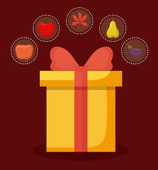 Caixa de presente do dia de ação de graças com conjunto s
